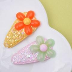 [헤어보우]계란꽃 똑딱핀 set_라이트핑크&옐로우