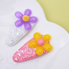 [헤어보우]계란꽃 똑딱핀 set_화이트&핑크