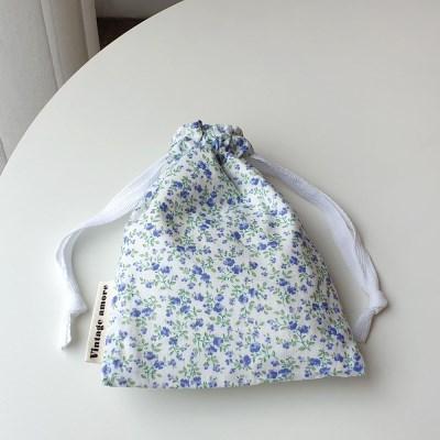 vintage flower string pouch #02
