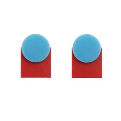 Blue puzzle dot earrings