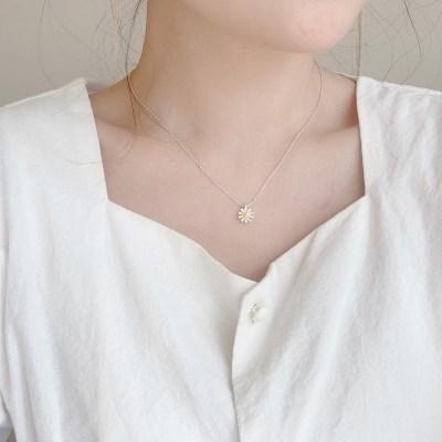 [925 silver] 노랑 데이지 꽃 실버 은 목걸이