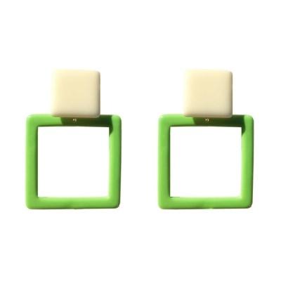 Green square N earring