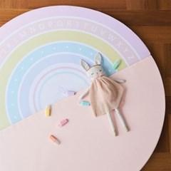 베딩베베 핑크 레인보우 원형 2단 120cm 유아 알파벳 놀이 폴더매트