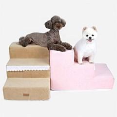 로고 포켓 핑크 펫 스텝 침대 계단 반려견