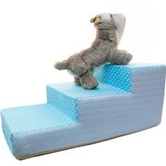 도트 3단 스텝 침대 계단 블루 강아지