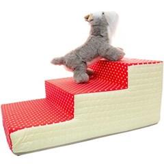 도트 3단 스텝 침대 계단 레드 강아지
