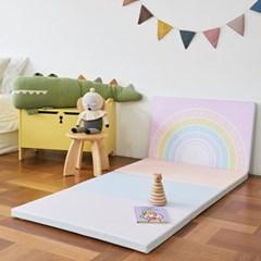 베딩베베 핑크 레인보우 4단 200x80 유아 복도형 거실 폴더매트