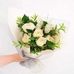 레몬처렄 상큼한, 화이트 부부젤라 꽃다발(생화/전국택배)