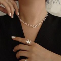 디테 silver 925 하트 체인 초커형 목걸이