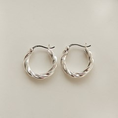 925 silver twist onetouch ring earrings (실버925)