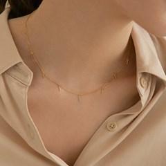 925 silver stick drop slim chain necklace (실버925)