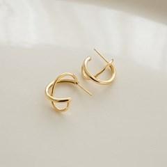 925 silver twin waves C earrings (실버925)