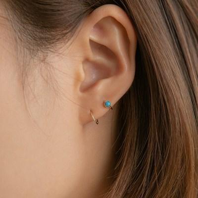 14k gold turquoise stone ring piercing (14k 골드)