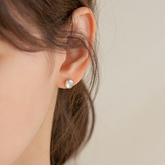 925 silver shell onyx heart round earrings (2type) (실버925)