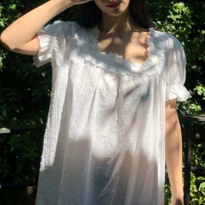 순면 100% 여름 코튼 원피스 잠옷 홈드레스