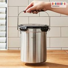 [한샘] 냄새가 안나는 가정용 스텐 음식물쓰레기통 3L 2종 - 처리기