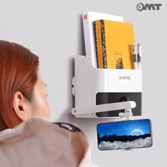 OMT 벽걸이 부착 다용도 수납함 접이식 휴대폰거치대 서랍 내장