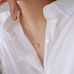 925 silver oval bold necklace (2color) (실버925)
