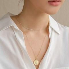 18k gf elizabeth big round coin necklace (14K 골드필드)