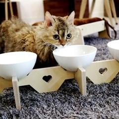 엉클펫 반려동물 고양이 강아지 식기 받침대 도자기식기 1구/2구/3구