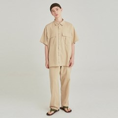 SAFARI LINEN SHIRT+PANTS SET UP_LIGHT BEIGE