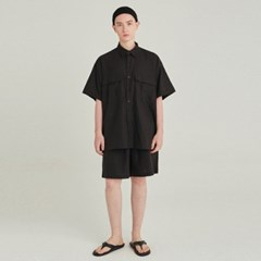 SAFARI LINEN SHIRT+SHORT SET UP_BLACK