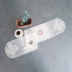 꽃자수 화이트 테이블 러너 4인(30cm x 150cm)_(1977757)