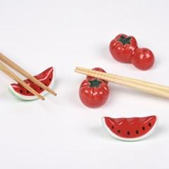 수박 토마토 수저 젓가락 받침 4개 세트_(1234237)