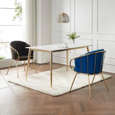 캘리 세라믹 마블 골드 식탁 세트 1400 + 의자 2개포함