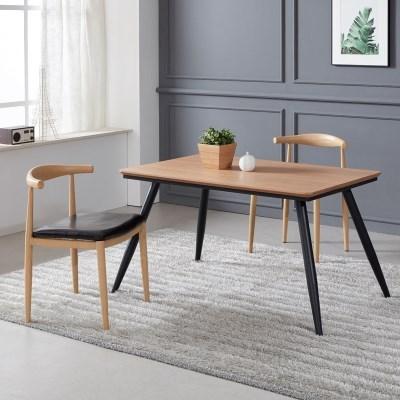 토바 무늬목 식탁 세트B 1200 + 의자 2개포함