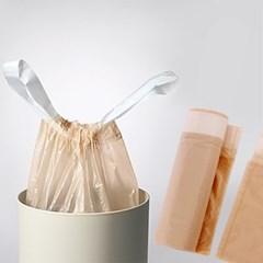 끈달린 쓰레기투(베이지)/ 손잡이 롤 비닐봉투