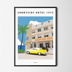 써니사이드호텔1 M 유니크 인테리어 디자인 포스터 휴가
