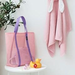 코니테일 비치 메쉬백 - 핑크 (비치백 가방 숄더백)
