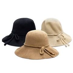 여성 모자 버킷햇 벨크로 리본