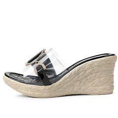 kami et muse Gold chain clear top wedge slippers_KM20s297