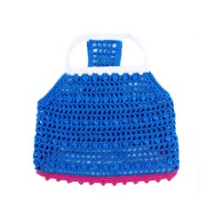 Color Block Crochet Crop T - Blue