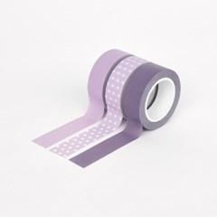 아르떼 마스킹테이프 도트 & 솔리드 3P SET - Grape