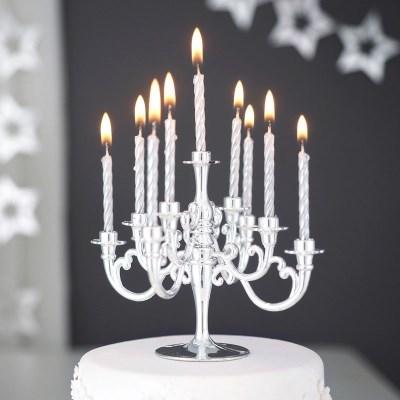 샹들리에 생일케익초 촛대&캔들 세트 [메탈실버]_(12089896)