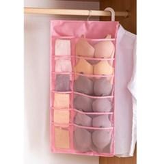 30칸 옷장 수납포켓(핑크)/속옷정리 걸이형수납함
