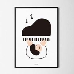 피아노 치는 어린이 M 유니크 인테리어 디자인 포스터 음악