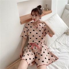 하트 반팔 홈웨어 파자마 잠옷