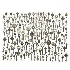 빈티지 레트로 앤틱 인테리어용 장식 소품 열쇠 150개