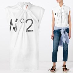 로고 트위스트넥 티셔츠 화이트 F081 4157 1101