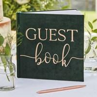 [빛나파티]진녹색 벨벳 웨딩 방명록 Green Velvet Guest Book