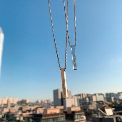 [ 1+1 커플] 이니셜 데일리 레터링 막대 목걸이
