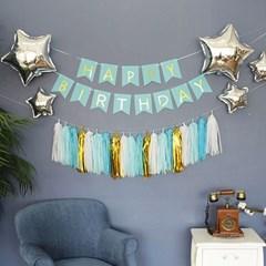 쓱싹파티 생일 파티 용품 가랜드 테슬세트 블루  7P