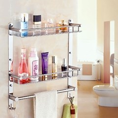 홈드림 2단 스텐 수건걸이 욕실선반/욕실수건걸이