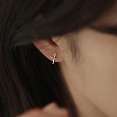 심플 실버 십자가 귀걸이