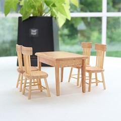 사각 우드 테이블 미니어쳐 4인세트