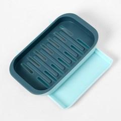 클린홈 벽부착 물빠짐 비누받침(블루)/ 이중 비누대